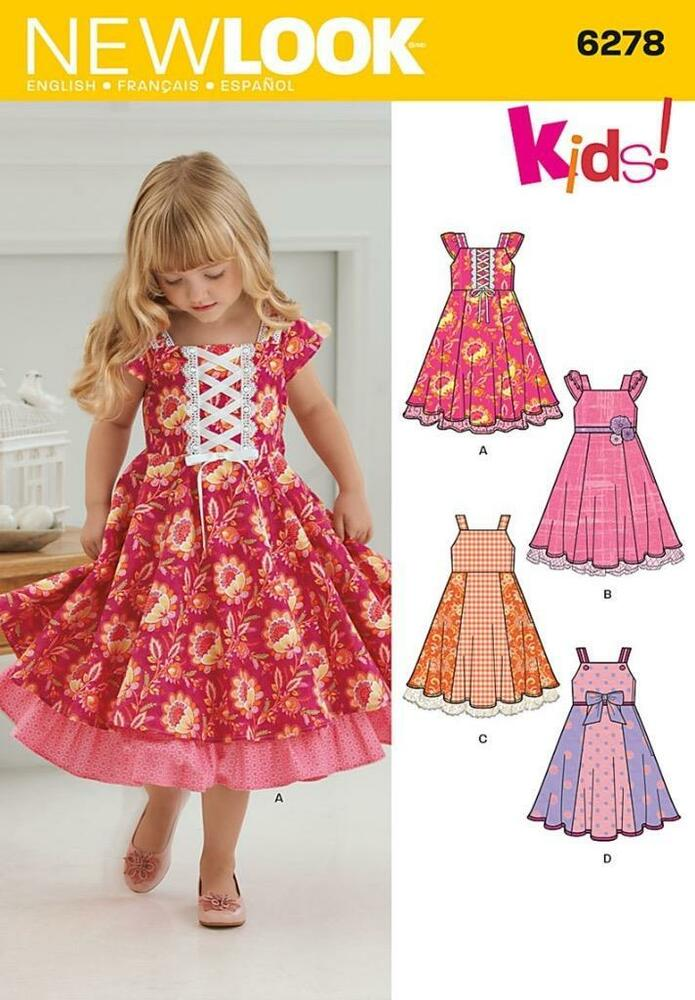 New Look Nähmuster KINDER Kleid mit Rand Variationen 3 - 8 6278 ...