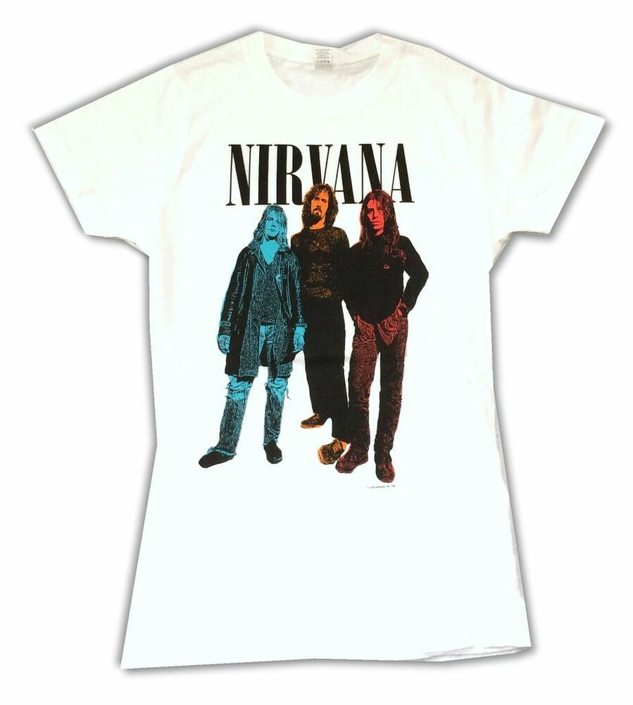 33f4525a Details about Nirvana Tri Color Band Image Girls Juniors White T Shirt New  Official Band Merch