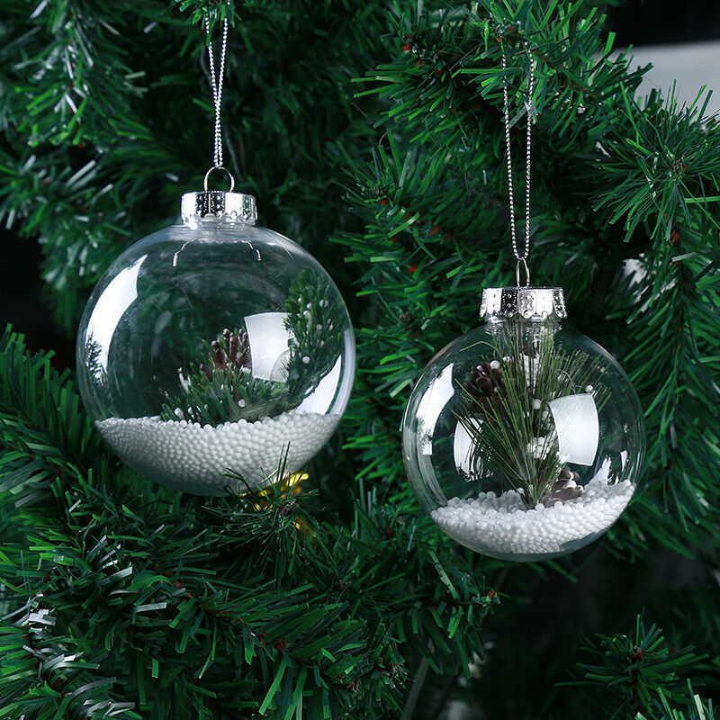 christmas tree ornaments clear plastic balls diy tree hanging 29284