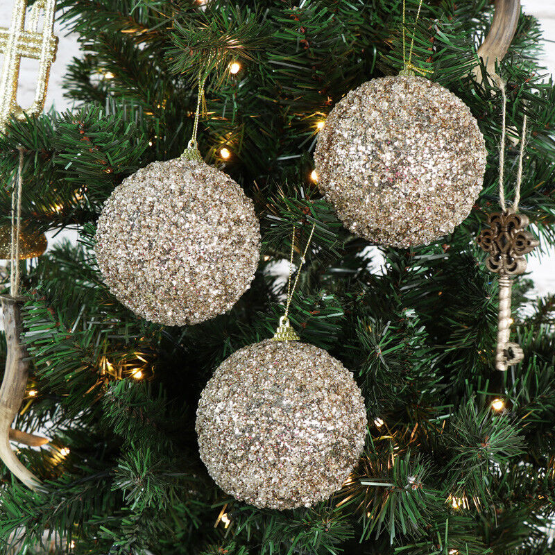 Christmas Tree With Baubles: Set Of 6 Large Gold Glittery Baubles Vintage Christmas