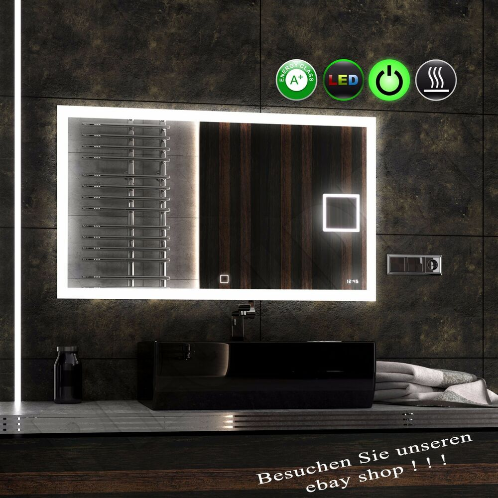 neu xxl ledfields 120 80 ledspiegel badspiegel kosmetikspiegel uhr heizmatte ebay. Black Bedroom Furniture Sets. Home Design Ideas