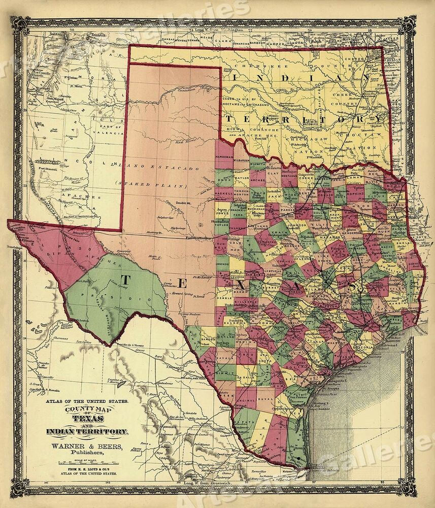 Map Of Texas With Counties.1875 County Map Of Texas Counties And Indian Territory 20x24 Ebay