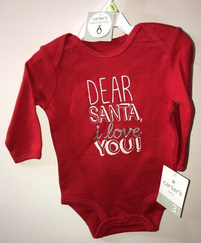 5bb53190f Details about NWT CARTER'S Red Bodysuit 3 months BABY Dear Santa I Love You