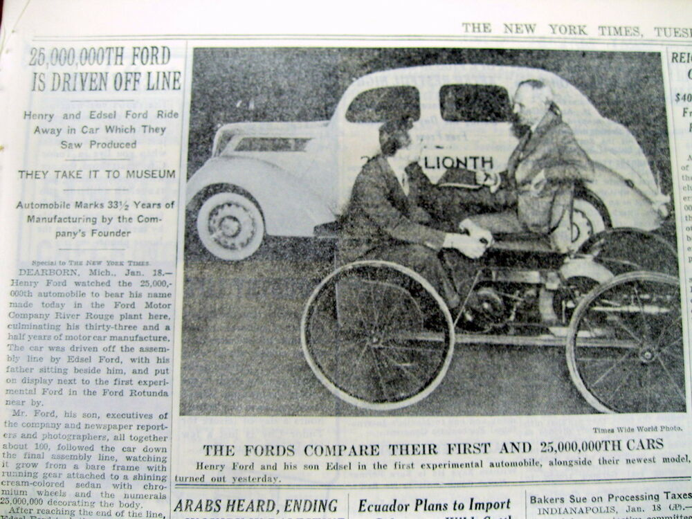 1937 NY Times newspaper w photo HENRY FORD w MOTOR COMPANY\'s 1st ...