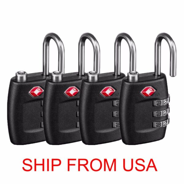 Pack of 4 TSA Lock Travel Luggage 3 Digit Combination Re-settable