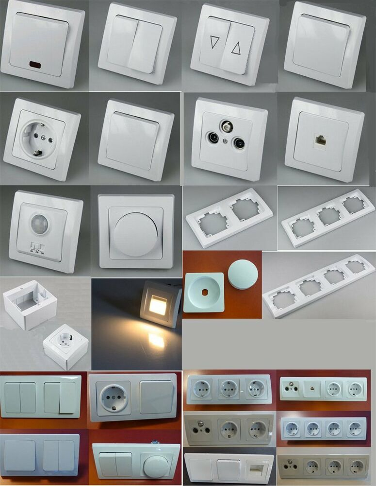 schalter steckdosen serie dimmer led lampe bewegungsmelder reinweiss kombi 2233 ebay. Black Bedroom Furniture Sets. Home Design Ideas