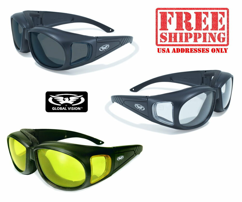 6b516d921d Details about GLOBAL VISION FOAM PADDED FIT OVER GLASSES MOTORCYCLE RIDING  SUNGLASSES BIKER