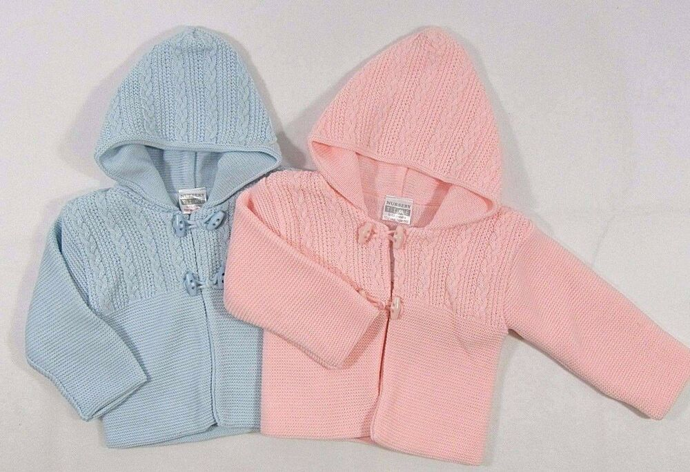 d17f1046c Baby Babies Girls Boys Button Up Hoodie Cardigan Double Knitted Pram ...