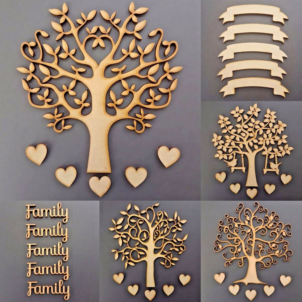 Wooden Family Tree Kit Set Banner 30mm Hearts Word Craft