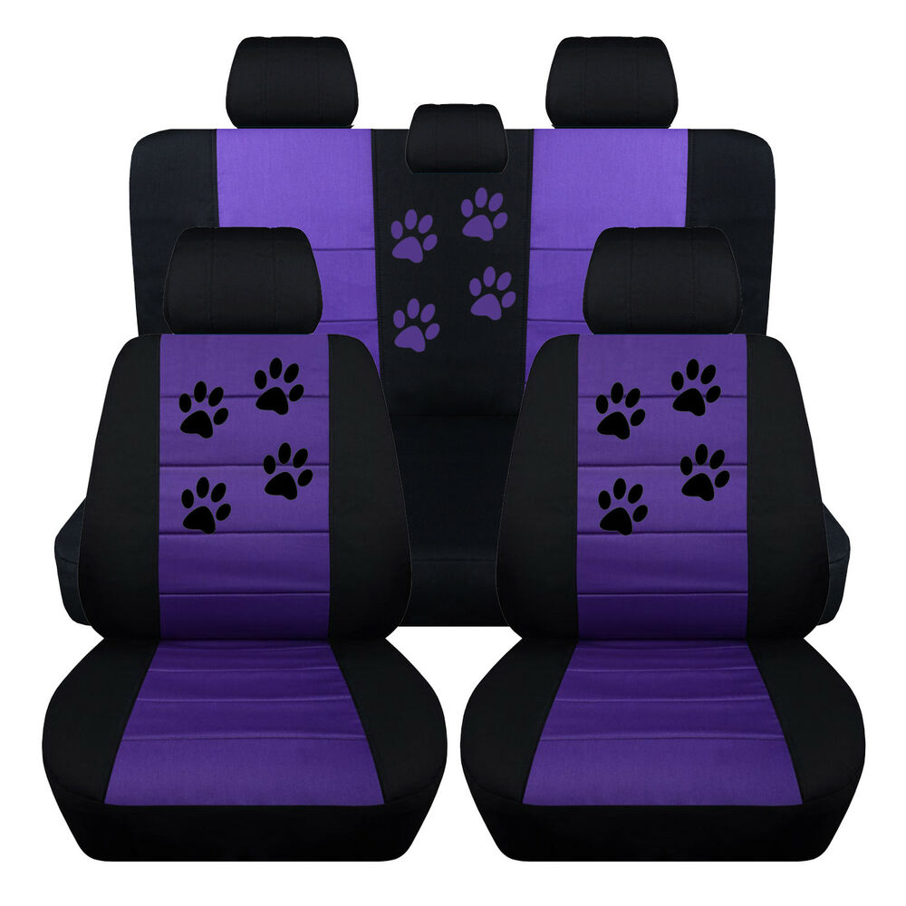 Details About Fits 2017 Ford Focus Front Rear Paw Print Seat Covers Black Purple Sbc Inc