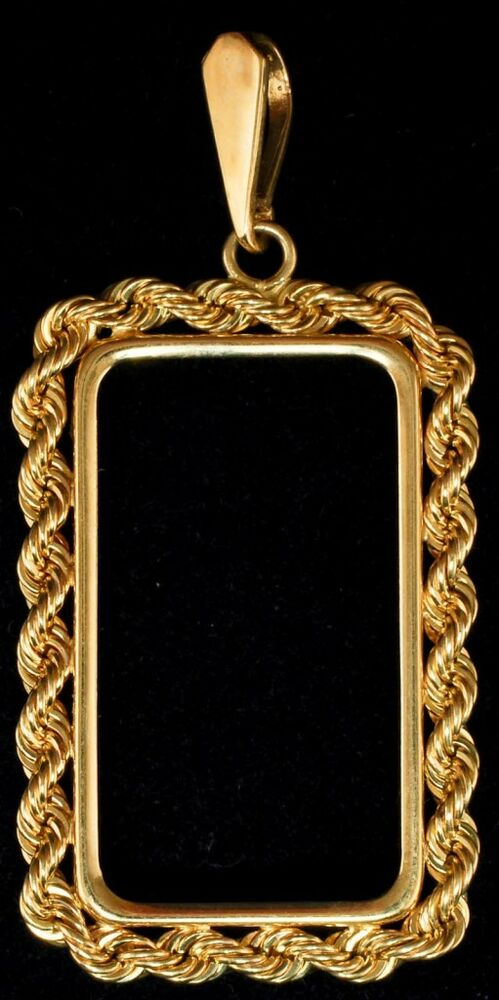 New Solid Gold 14 Kt 1 2 Oz Bar Swiss Credit 4 Prong Rope Bezel Frame Jewelry Ebay