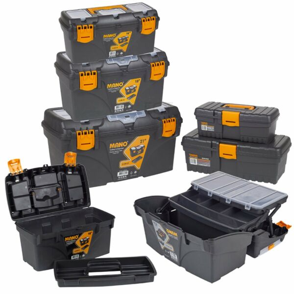 Large Plastic Tool Box Chest Lockable Removable Storage Compartments Cantilever