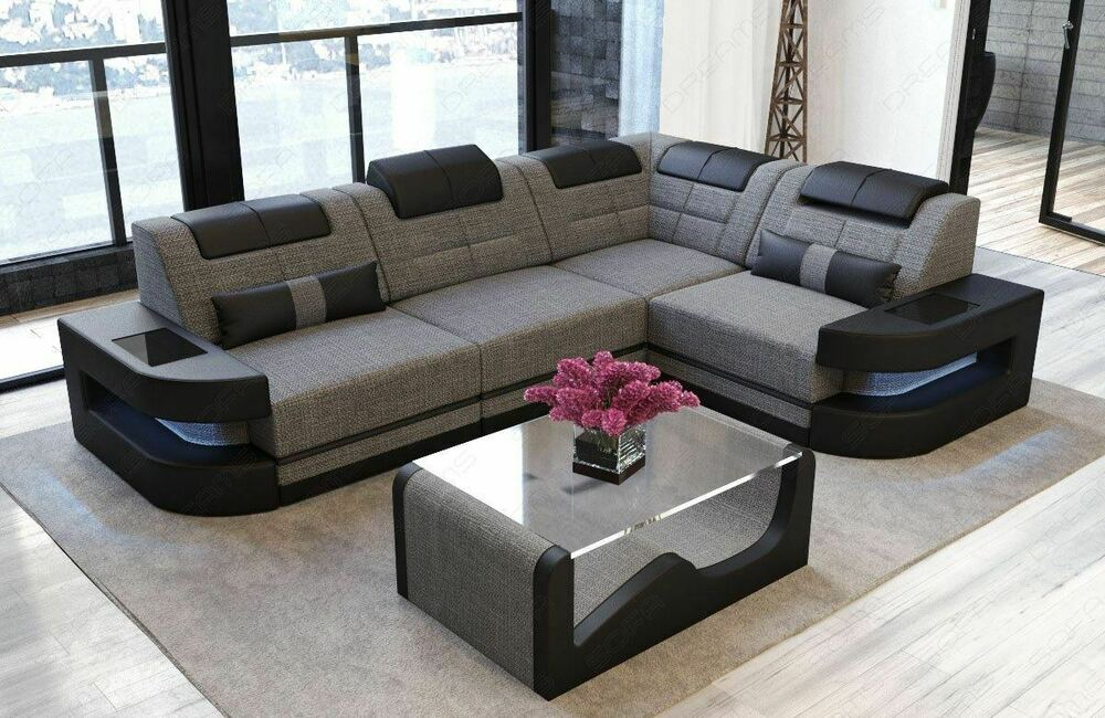 stoffcouch eck sofa wohnlandschaft como l led design polsterecke relax couch ebay. Black Bedroom Furniture Sets. Home Design Ideas