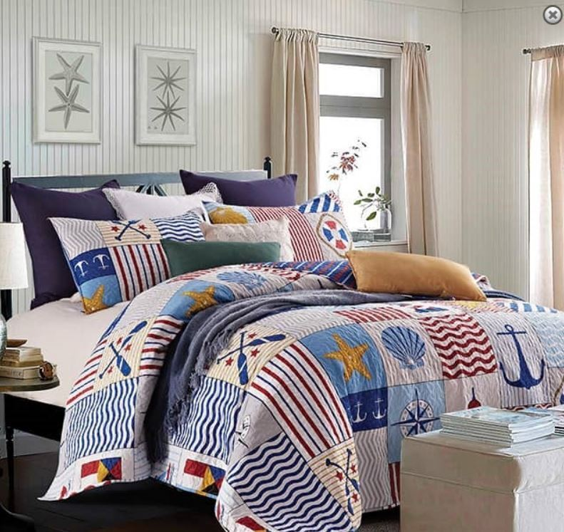 Nautical Bedding King: ANCHORS AWAY Full Queen QUILT SET : NAUTICAL BEACH HOUSE