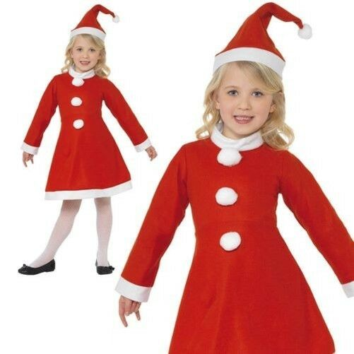 525f90507683 Girls Miss Santa Claus Costume Child Christmas Fancy Dress Outfit ...