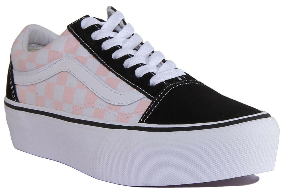 Women Skool Old Vans Pink White Black Trainers Platform Size Canvas CTtWnqW