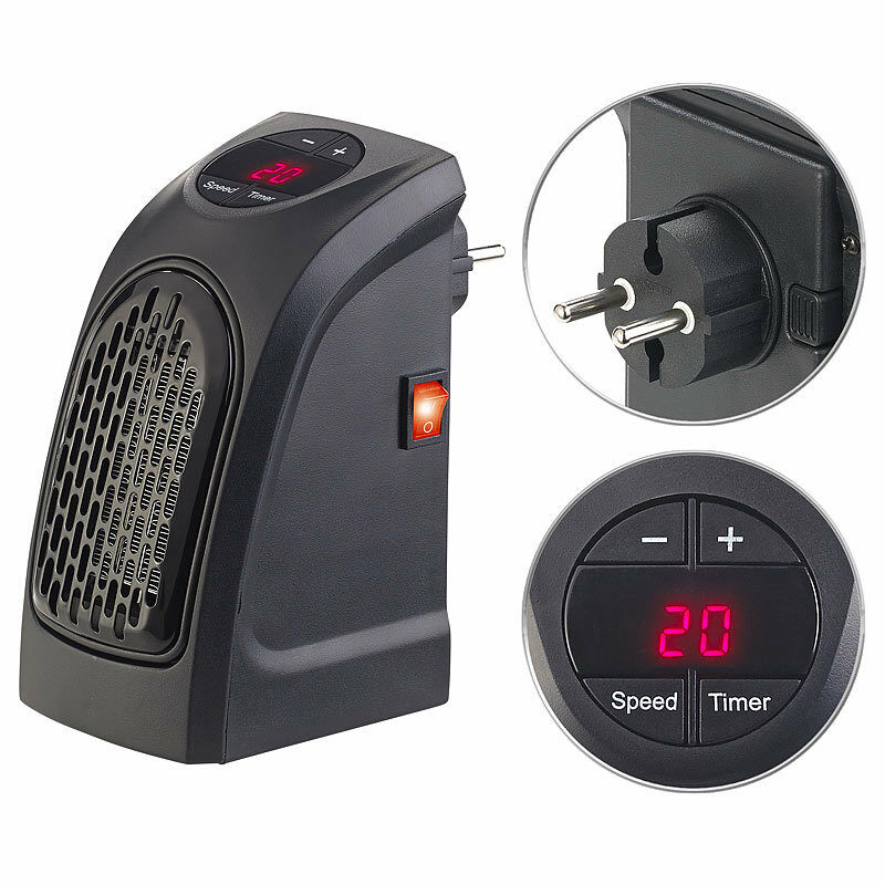 handy heater mini steckdosen heizl fter mit 2 l fter stufen thermostat timer ebay. Black Bedroom Furniture Sets. Home Design Ideas