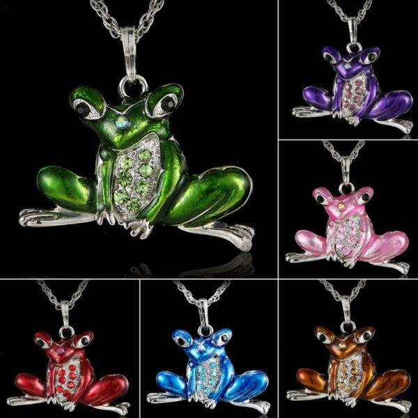 Retro 6Colors Frog Animal Crystal Long Chain Sweater Pendant Necklace Women Gift