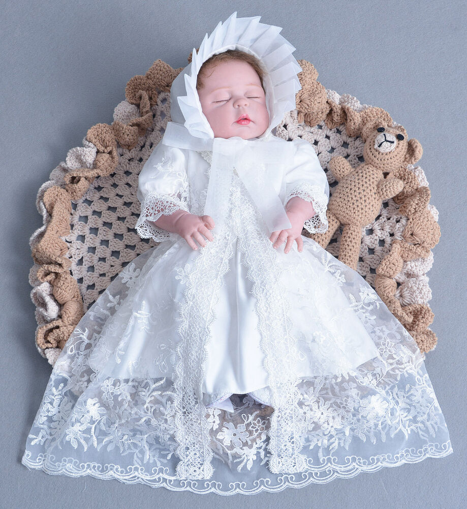 Cinderella Christening Gowns Girls: Girls White Lace Christening Gown Party Dress Cape Bonnet