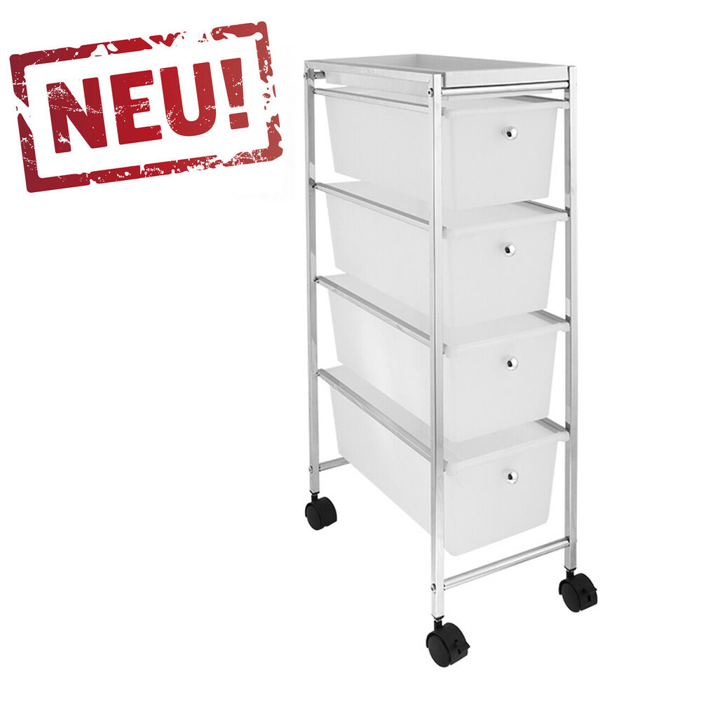 badregal k chenregal badtrolley rollwagen rollcontainer mit 4 schubladen chrom ebay. Black Bedroom Furniture Sets. Home Design Ideas