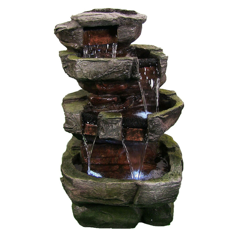 Details About 24 Tiered Stone Outdoor Electric Garden Water Fountain With Led Lights