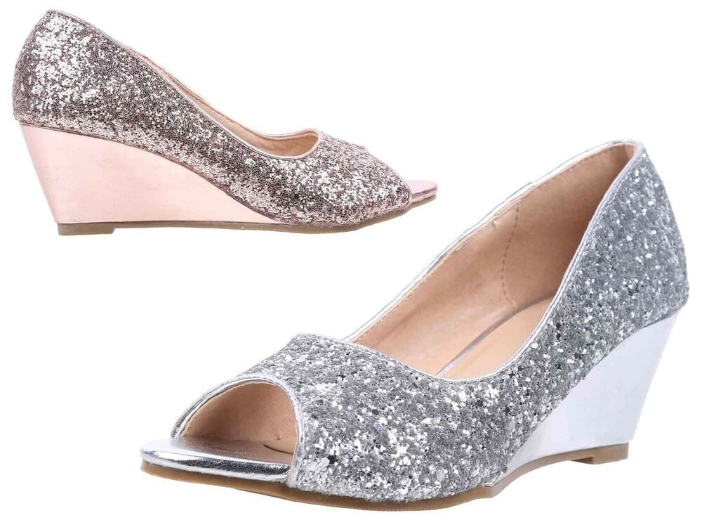 """6aee28f9b6bb5e Details about 2 Color Slip On Only Open Toe Princess Bling Party Wedges  Women 2.5"""" High Heels"""