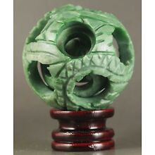 Chinese natural jade hand-carved jade ball hollowed out puzzling ball statue