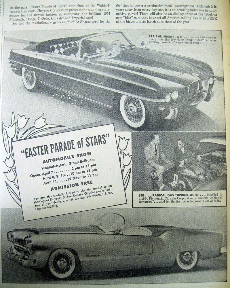 1954 newspaper new york auto show poster dodge firearrow plymouth