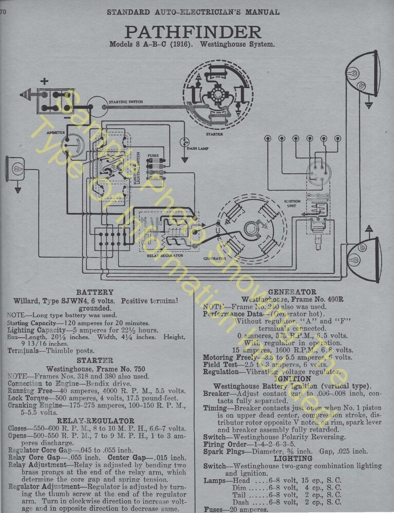 19211924 Ford    Model    T Car Wiring    Diagram    Electric System Specs 591   eBay