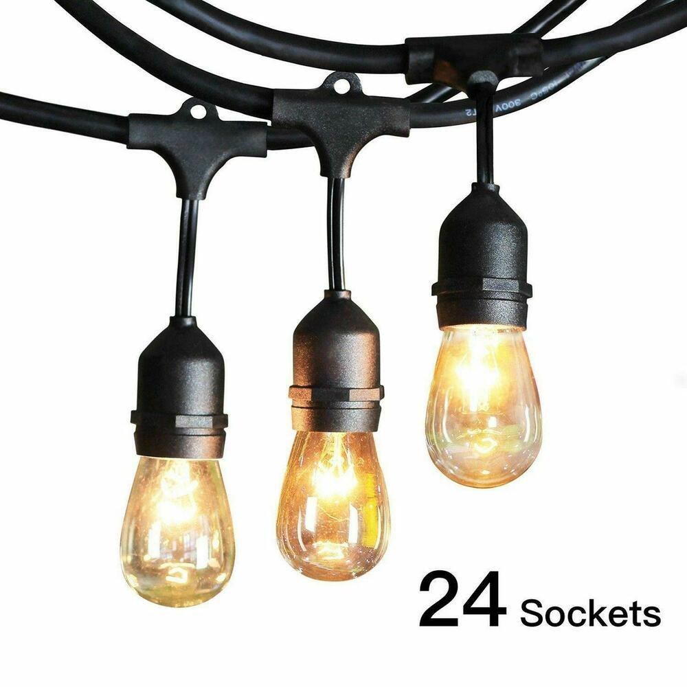 Commercial Globe String Lights: 48ft Outdoor String Lights Waterproof Commercial Patio