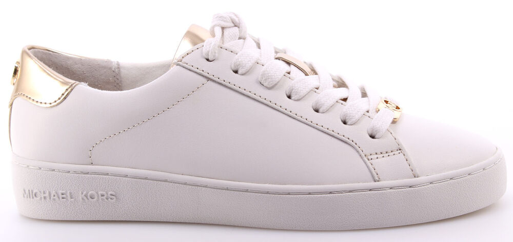 Damen Schuhe Sneakers MICHAEL KORS Irving Lace Up Leather White Optic Gold Weiss XtGsyy