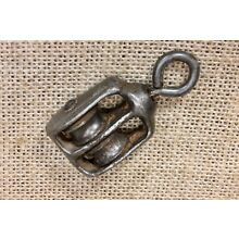 """old Pulley with swivel eye double 5/8"""" wheel cast iron vintage"""
