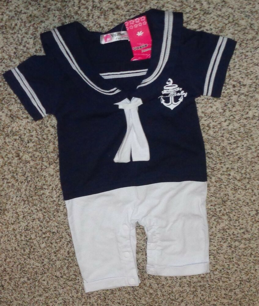 c3a9766bc Vogue Fashions Toddler Boys Sailor Romper One Piece Size 12-18 ...