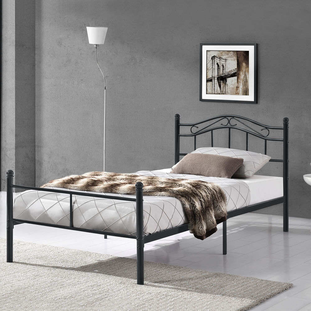 metallbett 120x200 schwarz bettgestell bett schlafzimmer jugendbett ebay. Black Bedroom Furniture Sets. Home Design Ideas