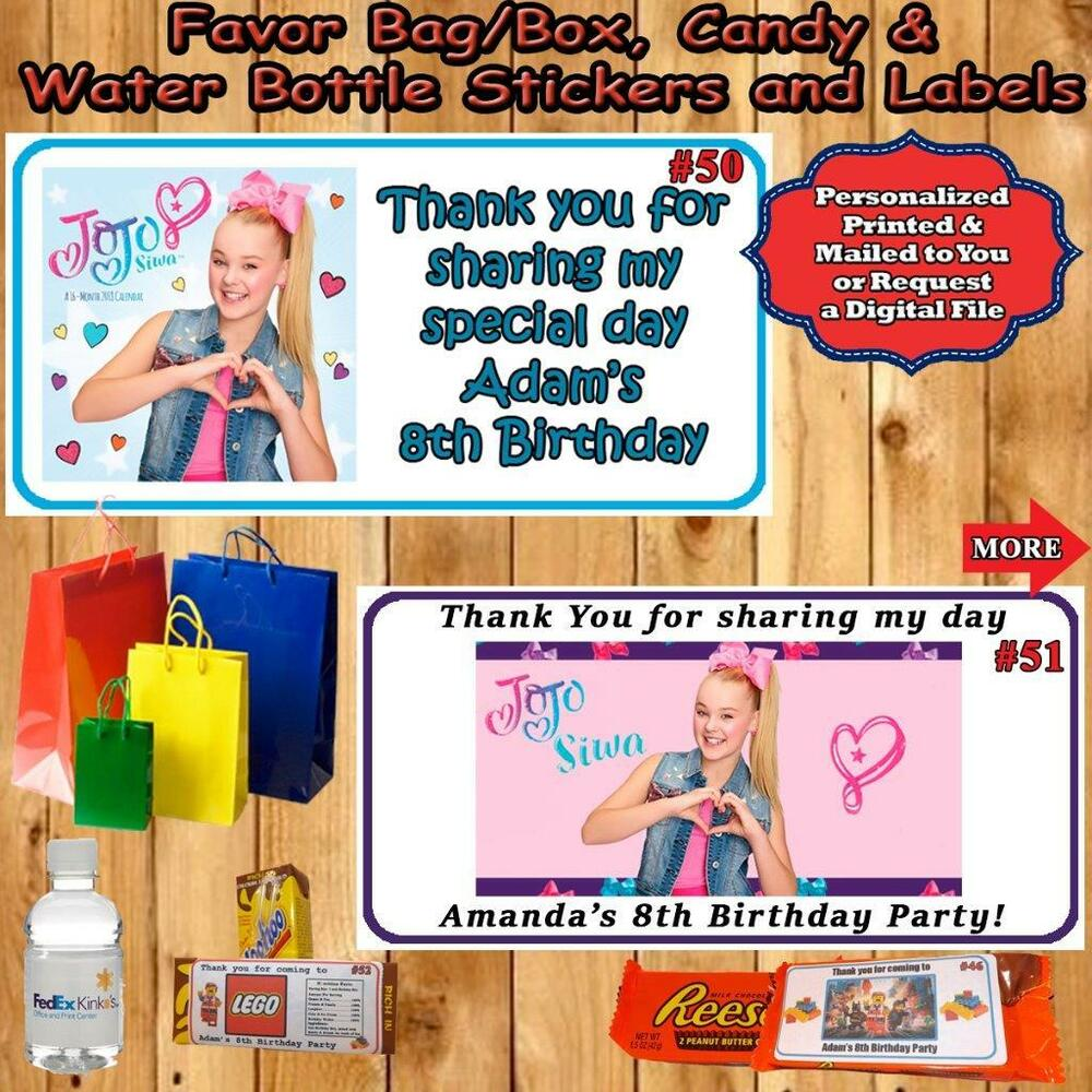 49bf953bf0 Details about JoJo Siwa Birthday Water Bottle Labels Favor Candy Stickers 1  Sheet Personalize