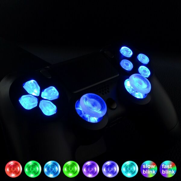 Multi-colors Replacement Led Button Thumbstick Kit for PS4 Controller all Models