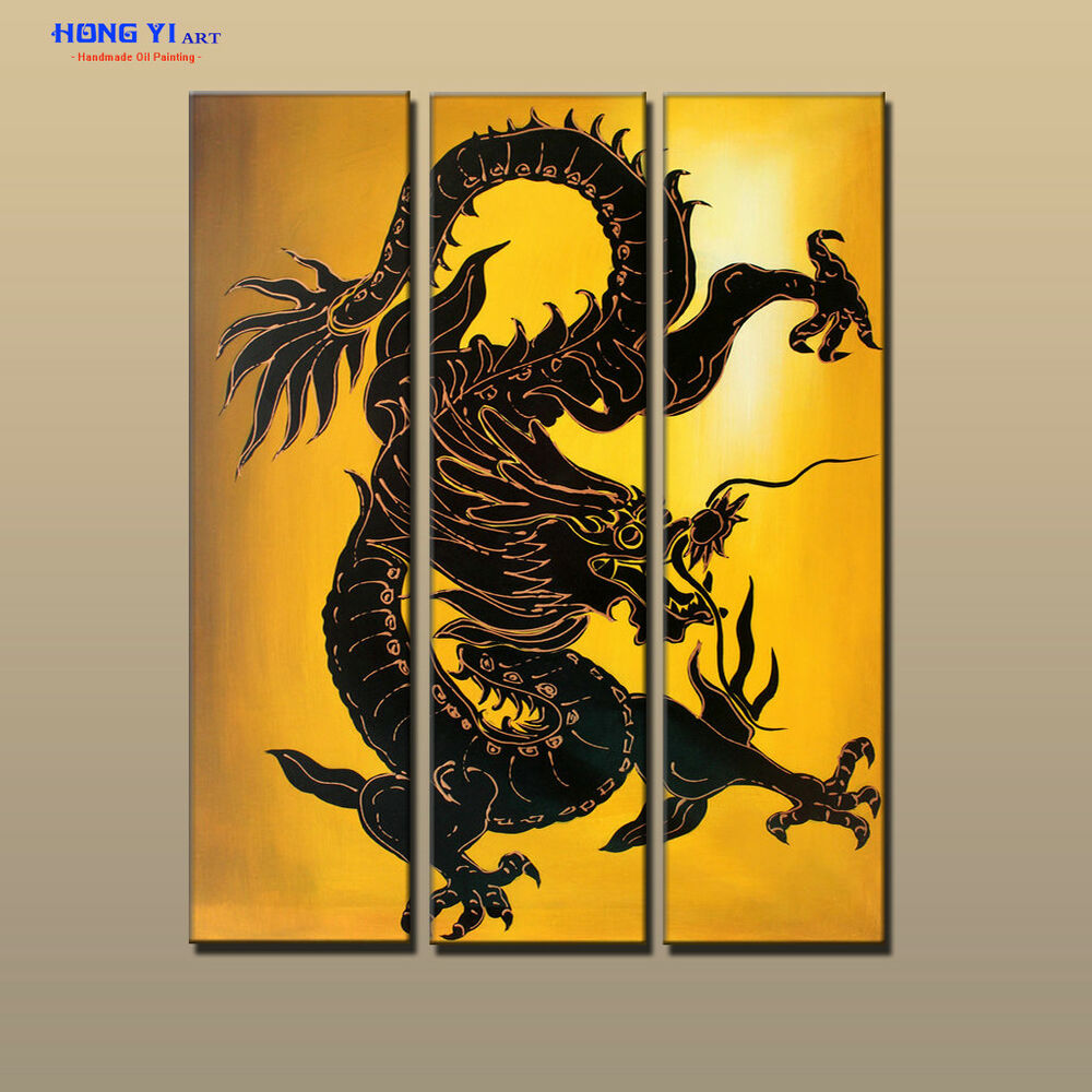 Framed Large MODERN Feng Shui Dragon ABSTRACT OIL PAINTING Canvas ...