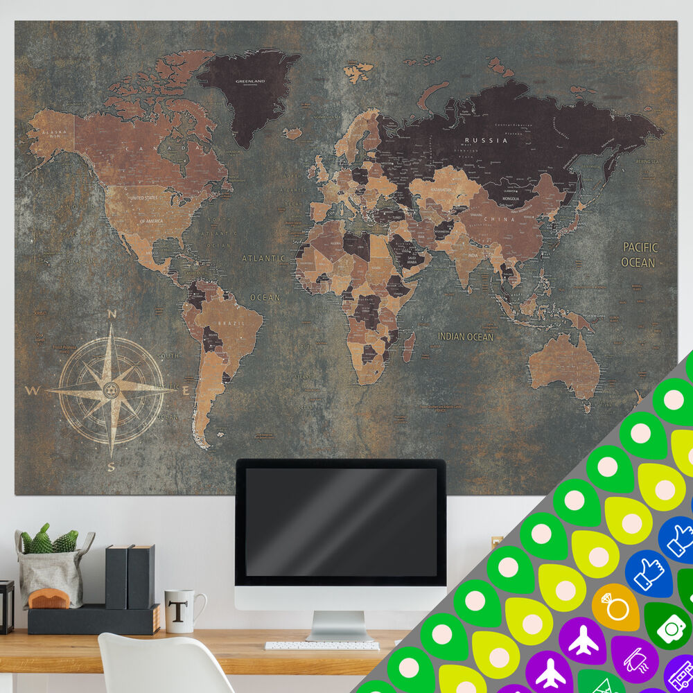 weltkarte poster xxl wandbild wanddeko globus antik vintage retro k a 0361 af 5902875154817 ebay. Black Bedroom Furniture Sets. Home Design Ideas