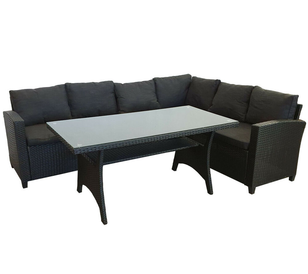 kmh polyrattan sitzgruppe schwarz lounge essgruppe. Black Bedroom Furniture Sets. Home Design Ideas