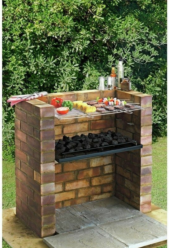 large outdoor brick charcoal bbq stainless steel grill set cooking rack kit new ebay. Black Bedroom Furniture Sets. Home Design Ideas
