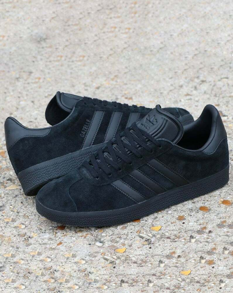 Adidas Gazelle Trainers Solid Grey Red Originals Shoes: Adidas Gazelle Trainers In All Black Suede