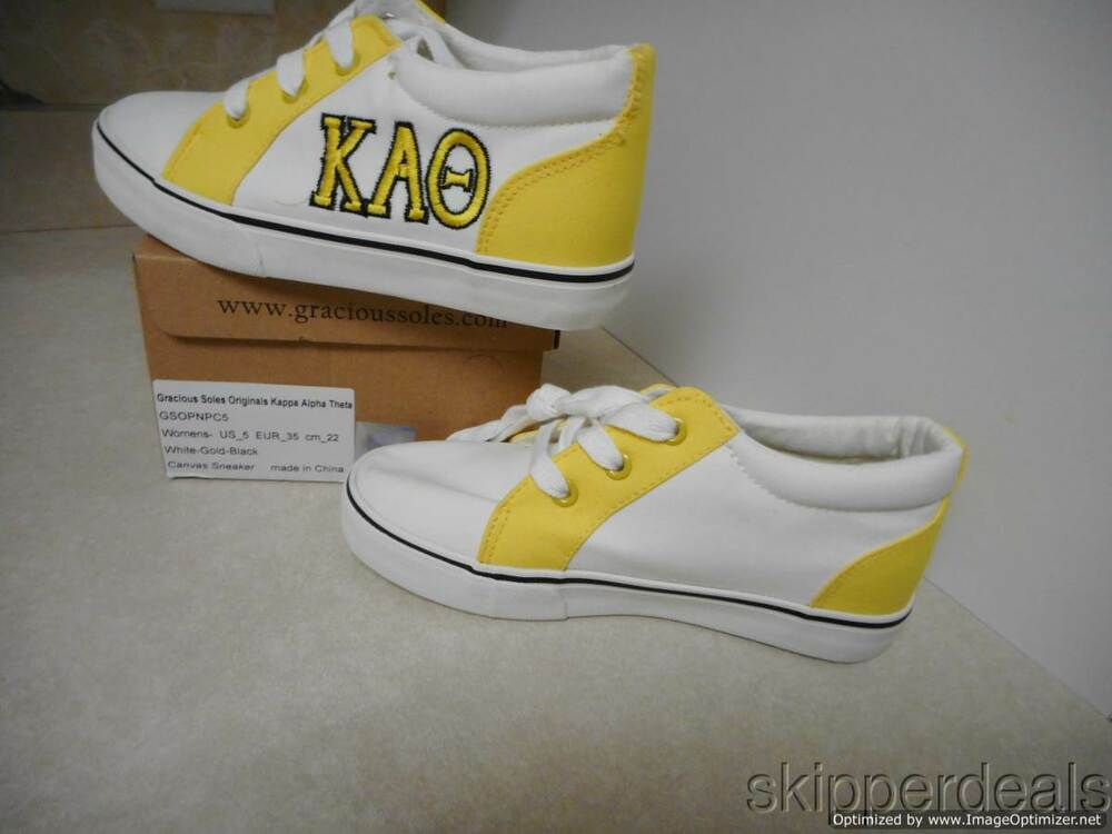704cb17d6d WOMENS KAPPA ALPHA THETA COLLEGE SORORITY YELLOW SNEAKERS TENNIS SHOES sz 5  NEW | eBay