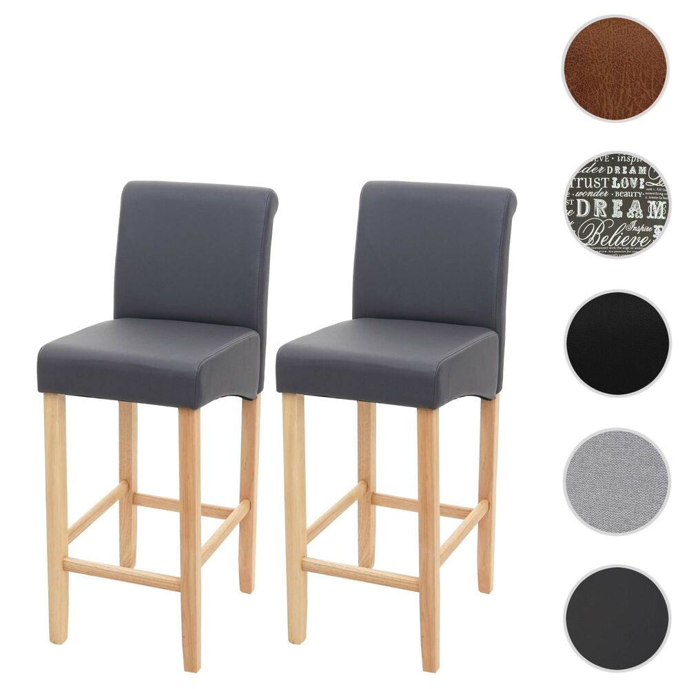 2x barhocker hwc c33 barstuhl tresenhocker mit lehne leder kunstleder textil ebay. Black Bedroom Furniture Sets. Home Design Ideas