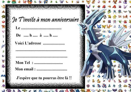 5 Cartes Invitation Anniversaire Pokemon 010