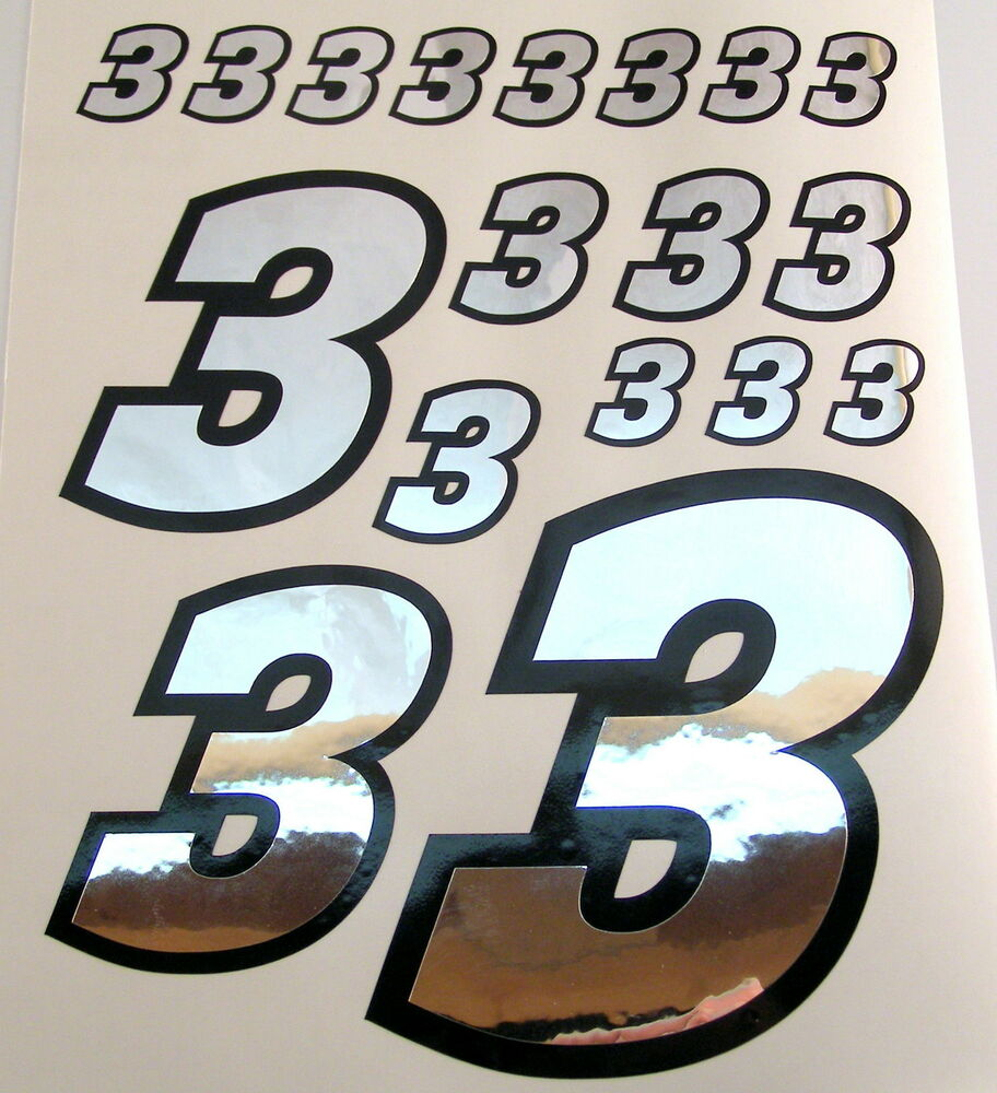 Details about racing numbers number 3 decal sticker pack silver black 1 8 1 10 rc models s06