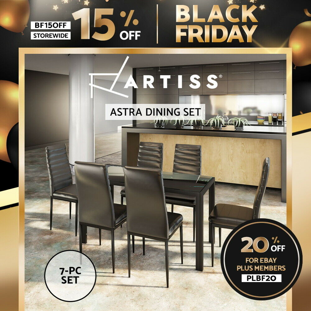 5a9c37a64e099 Details about Artiss Astra 7-Piece Set Dining Table and 6 Chairs Sets Glass  Leather Seater BK