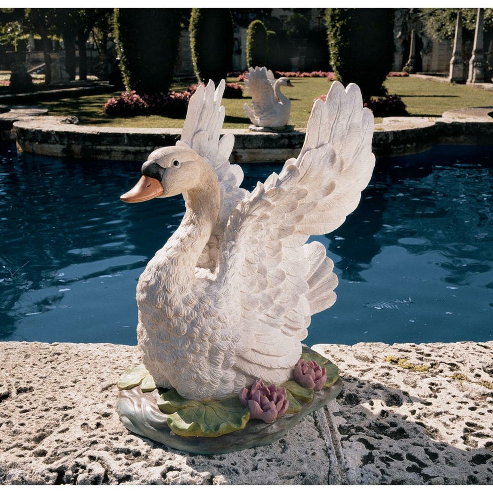 Stsatuette For Outdoor Ponds: Beautiful Life Size Wings Raised White Swan Garden Pond