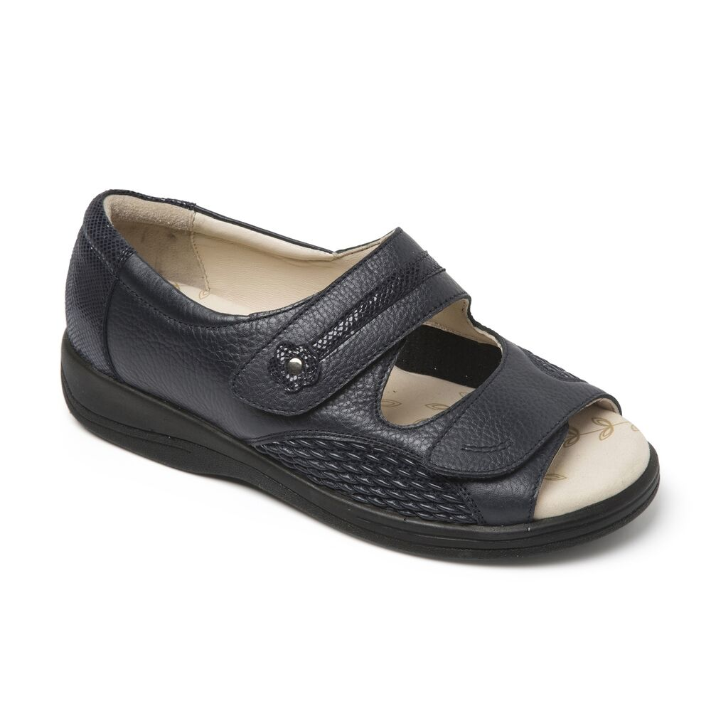 Details about Padders GRACEFUL Ladies Womens Leather Extra Wide Fit (3E 4E)  Sandals Navy Blue dc095228d