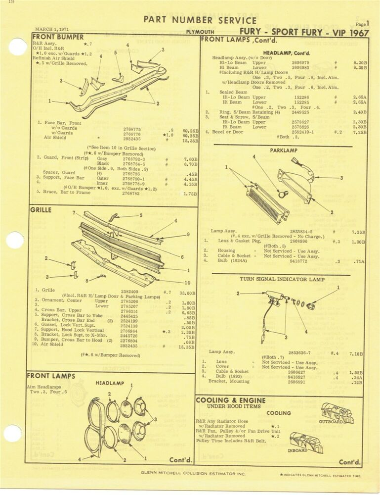 details about 1967 plymouth fury sport fury vip factory oem part number  list gtc