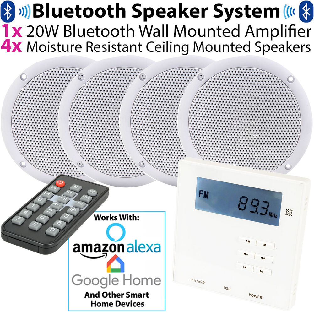 Wall Mounted Micro Bluetooth Amplifier 4 Ceiling Speaker Kit Stereo Hifi